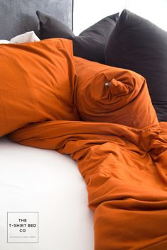 Dramatic Rust is 2019's most coveted color!  Rust adds instant luxe and depth to any living space and is perfect paired with Organic or Deep Charcoal accessories. #bedlinenredefined#tshirtbedding#tshirtbed#purecotton#romanicbedroom#bedroominspo #inspiration#interiordecorating#interiorinspiration#cozy#warminsummer#coolinwinter#ethicalbedding #ethicallymade#zeromicrofiber#noncrease#noniron#linenloveaffair#shop Duvet Cover Sets, Linen Bedding, Rust, Living Spaces, Interior Decorating, Inspiration, Shopping, Color, Linen Sheets