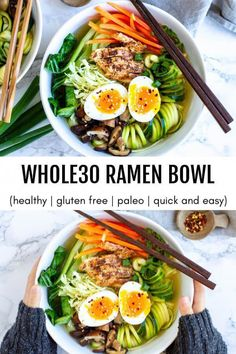 A simple and satisfying ramen bowl full of vegetables, protein, and a savory broth. A simple and satisfying ramen bowl full of vegetables, protein, and a savory broth. Whole30, Paleo Whole 30, Whole 30 Recipes, Whole 30 Meals, Whole Foods, Whole 30 Lunch, Healthy Recipes, Soup Recipes, Easy Ramen Recipes