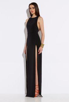 Lexi Black High Double Slit Maxi Dress | AQ/AQ