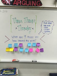 Three Things Thursday - what are 3 things you learned this week? Future Classroom, School Classroom, Classroom Activities, Classroom Organization, Classroom Ideas, Morning Board, Morning Activities, Daily Writing Prompts, Bell Work