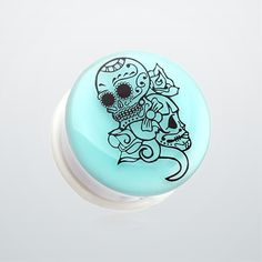 Glow in the Dark Floral Sugar Skull Single Flared Ear Gauge Plug
