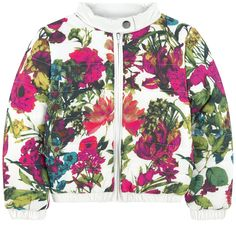 Waterproof nylon on the outside Synthetic lining Quilted padding Waterproof item Straight collar Long sleeves Slit pockets Elasticated cuffs and bottom Zipper on the front Snap button on the collar Flower print Padded effect - $ 53