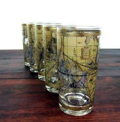 Vintage Set of 5 World Map Highball Cocktail Glasses