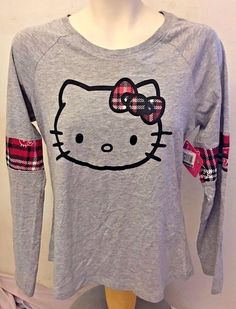 HELLO KITTY GRAY AND PINK PLAID LONG SLEEVE TOP WOMENS SIZE L #Sanrio #KnitTop #Casual