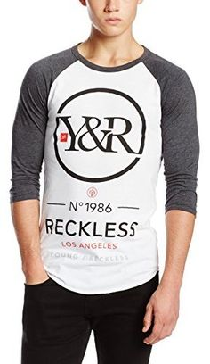 $28, Young Reckless Point Blank Raglan 34 Sleeve T Shirt. Sold by Amazon.com. Click for more info: http://lookastic.com/men/shop_items/69689/redirect