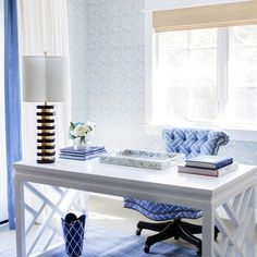 white and blue desk features a white chinoiserie desk bungalow 5 bell desk topped chic home office features
