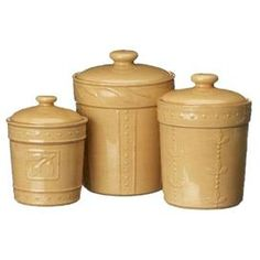 Bring wine country charm to your kitchen, breakfast nook, or dining room with this eye-catching design, artfully crafted for lasting appeal.    Product:   Small,  medium and large canister Construction Material: Stoneware    Color: Wheat Features: Safe for microwave and ovenGlossy, lead-free, chip-resistant stoneware    36, 48, and 80 Ounce capacity  Raised dot and olive leaf motif            Cleaning and Care: Dishwasher safe     Shipping: This item ships small parcelExpected Arrival Date…