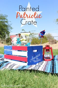 Salt and Pepper Moms: Painted Patriotic Crate (stencil made with my Silhouette CAMEO)