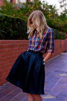 plaid shirt + navy skirt