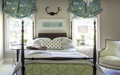 Shades and bed skirt. Room by Katie Emmons Design, Charlotte