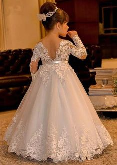 The dress for girl which match the flowers-white lace flower girl dresses long sleeves kids ball gowns long floor length appliques bow girls pageant dresses chi Princess Flower Girl Dresses, Lace Flower Girls, Wedding Flower Girl Dresses, Bridal Dresses, Girls Pageant Dresses, Little Girl Dresses, Dresses For Girls, Party Dresses, Pageant Gowns