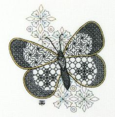 Small Blackwork Butterfly Embroidery Kit - a Hand Embroidery Design as an Alternative to Cross-stitch.