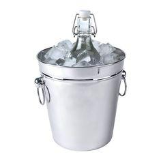 """Oleby"" silver wine cooler ice bucket from Ikea ($10)."