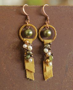 Erin Strother - hoop & dangle earrings--good way to use up my ultra suede scraps/patinas