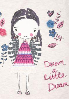 F Dream Girl T-Shirt Little Girl Illustrations, Illustration Girl, Pencil Drawings Of Girls, Cute Drawings, Little Girl Fashion, Kids Fashion, Girls Characters, Girly Girls, Girls Wear
