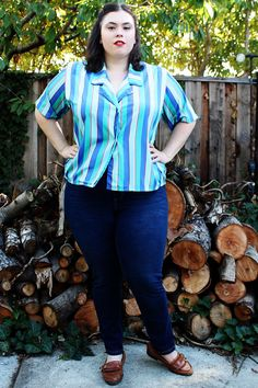Plus Size - Vintage Charmeuse Multicolor Striped Button Down Cropped Blouse by TheCurvyElle, $18.00