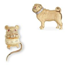 A GOLD AND RUBY 'MOUSE' CLIP BROOCH, BY HERMES AND A GOLD, RUBY AND DIAMOND 'DOG' PIN
