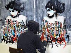 """http://studio-hush.com/ """"Le street artist Hush est anglais. Il utilise avec talent un mix de techniques issues du dessin, de la peinture et du graffiti (et du collage aussi). Il a réalisé de nombreux voyages et vécu quelques années au Japon"""""""