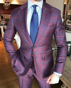 Men's Suits 2 Pieces Business Office Tuxedos NEW Wool Classic Formal Windowpane Best Suits For Men, Cool Suits, Formal Suits, Men Formal, Windowpane Suit, Cool Outfits For Men, Mode Costume, Herren Outfit, Jackett