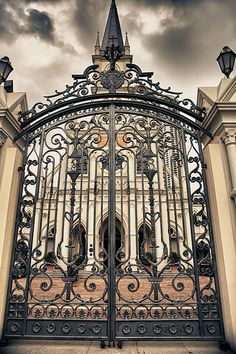 Ornate Iron Gates to Castle Front Gates, Entrance Gates, Old Gates, Wrought Iron Gates, Metal Gates, Unique Doors, Iron Work, Gate Design, Door Knockers