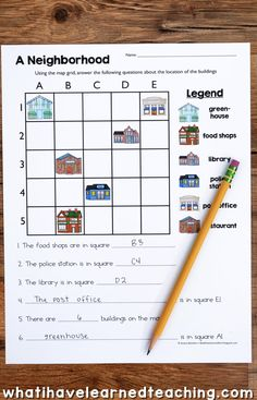 A Location and Map Skills Social Studies Unit that teaches students about grid maps and more!  Create a map of your school, classroom, and practice reading a variety of grid maps!