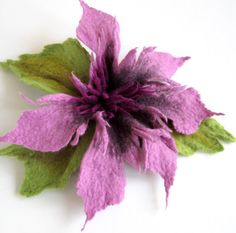 Felt Purple LavenderGreen Unique Felted Flower Brooch Handmade Merino Wool High Fashion Boho