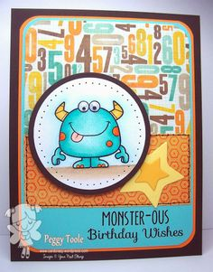 Your Next Stamp Card by Peggy using Silly Monsters, Whimsy Layered Star Die