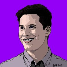 finished Andy Samberg today. ive watched so much Nine-Nine now after the 5th season just came to Netflix in Norway.  #brooklyn99 #andysamberg #saturdaynight #saturdaynightlive #netflix #actor #comedy @thelonelyisland #cuckoo #cartoon #portrait #adobeillustrator #adobe #illustration #digitalart #artwork #ninenine #thelonelyisland