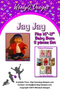 """****JAY-JAY****   ***KNITTING PATTERN ONLY***  To fit 16-17"""" Baby born or similar size dolls  Pattern contains instructions for Cardigan, trousers, beanie and booties and short sleeve t-shirt."""