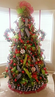 Lime green, red with black & white checked Christmas tree decorated by www.poshcreationsonline.com