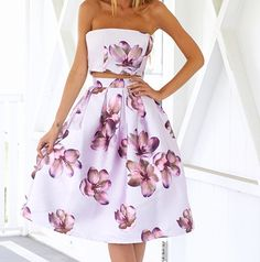 Hot White Sexy Wrapped Chest Random Floral Print Cut Out Women Midi Dress
