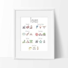 Texas Regional Icons Print Digital by WhitehallShop on Etsy