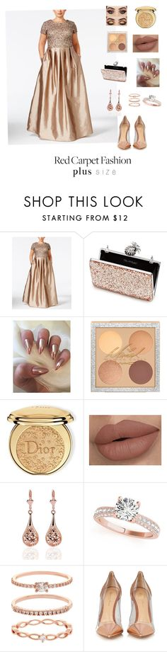 """""""Red Carpet Beauty"""" by ichiss ❤ liked on Polyvore featuring Adrianna Papell, Miss Selfridge, Christian Dior, Accessorize, Gianvito Rossi and plus size dresses"""