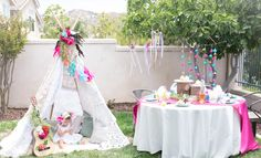 bohemian chic teepee party indian native american girls bithday party ideas drreamcatchers headdress feathered headwear