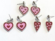 Set of 3 pairs of Valentine's Day Earrings.  3 by NammersCrafts