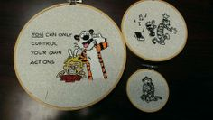 Calvin and hobbes stitched hoops - 2014 Affirmation Swap ORGANIZED CRAFT SWAPS - DIY, tutorials, recipes, needlework, knitting, crochet, paper craft, jewelry making, swaps and so much more on Craftster.org