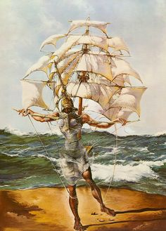 Salvador Dali. \\ The Ship (1943) a confluence of sea/air/and the mind unfettered by time and space