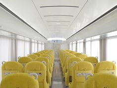 Architect Kazuyo Sejima's design for a Japanese commuter train with huge passenger windows and a curved glass nose is now in operation. Artificial Marble, Commuter Train, New Museum, Curved Glass, Transportation Design, Architect Design, Paint Designs, Luxury Living, Glass Panels