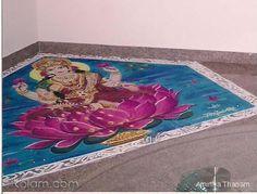 A Goddess Lakshmi rangoli, by Amirtham Rangoli Ideas, Rangoli Designs, Diwali Rangoli, Goddess Lakshmi, Cool Designs, Decorative Boxes, Sketch, Painting, Decoration