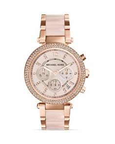 Michael Kors Blush Acetate and Rose Gold Tone Parker Glitz Watch, 39mm | Bloomingdale's