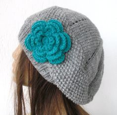 Hand Knit Hat  Womens hat beret  Silver  Gray  turquoise  by Ebruk, $30.00