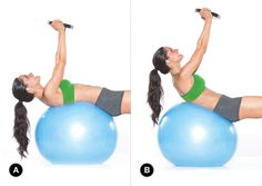 Weighted crunches on a ball will make you have to use your entire core for stability and strength during this move.