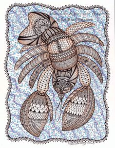 "ACEO Open Edition Print ""Kilchis Krawdad"" zentangle inspired art illustrationof a crawdad by Karen Anne Brady"