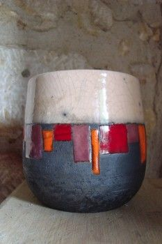 mug tasse raku blanc motifs décalé
