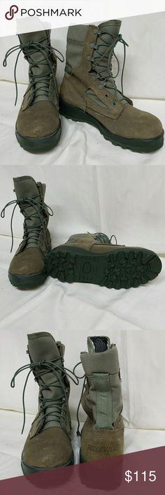 Belleville Boots Belleville Boots. Used by general public, military, government, law enforcement, gortex lining, steel toe, blue/green, lace-up, vibram soles, NWOT Belleville Shoes Combat & Moto Boots