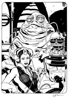 Jabba the Hutt and Slave Leia Pen Ink Drawing by Tim