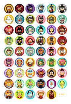 작업하면서 아끼던 애들은 핑초, 슈크림, 연금이. 그런데 삑사리 하나가 숨어 있었다.(오늘 발견함 #쿠키런 #할로윈 #픽셀아트 #스티커 #Cookierun #Halloween #pixelart #pixel