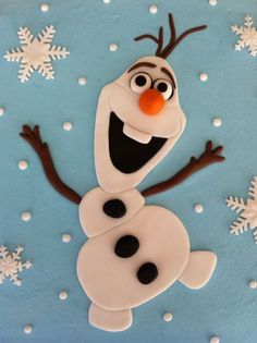 Flat olaf cake topper by Craftytreets on Etsy