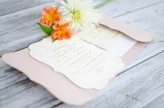 Blush & Ivory Pocketfold Invitation with Mailer Box by CutInvites