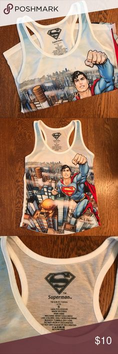 Superman Racerback Tank Top Awesome Superman racerback tank top!! I love the graphics on this! I had hoped to wear it for Halloween since my boys are all going to be superheroes, but it is too small for me. Excellent condition!   🌟 Size - S (on the small side, probably runs more like an XS)  💰 Bundle 2 or more items and save!!  📸 Follow me on Instagram @cubbycreekboutique Superman DC Comics Tops Tank Tops